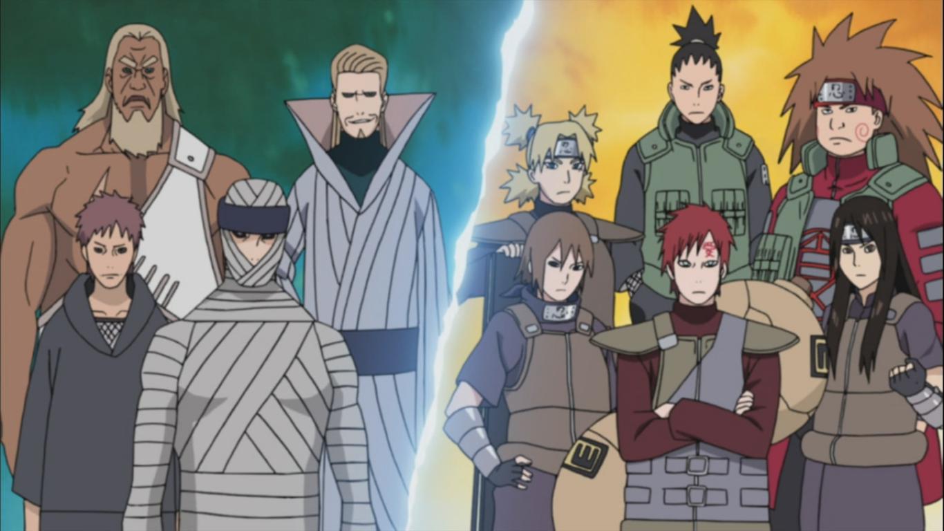 4 kage s summoned shikaku s tactical plan naruto for Cuarto kazekage vs orochimaru