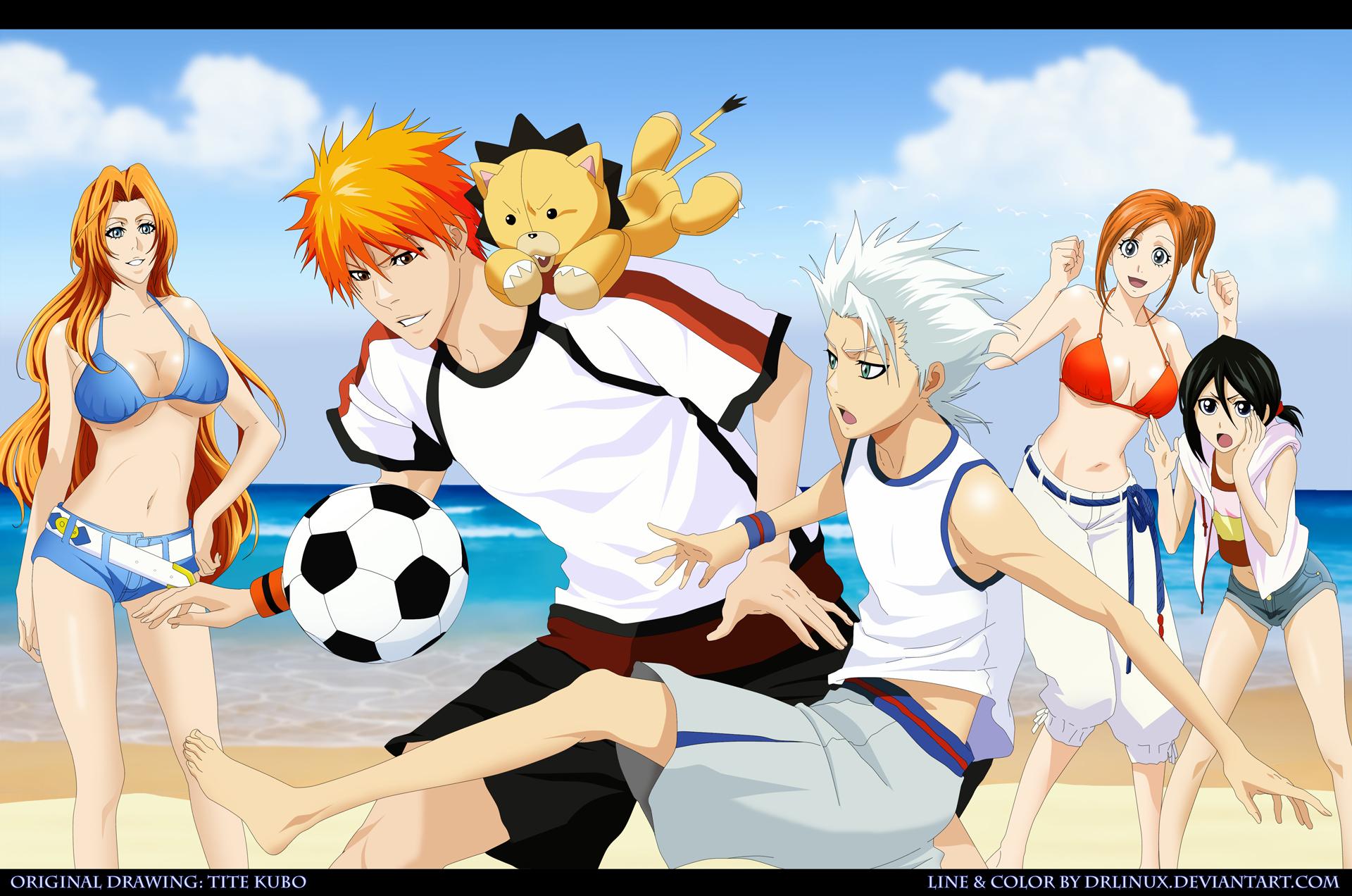 Ichigo New Bankai Chibi Football on the Beach ...