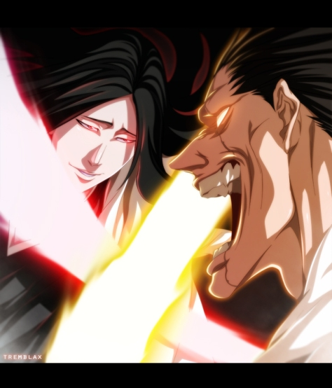 bleach_523___zaraki_vs_unohana_by_tremblax-d5rrv2g