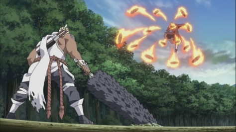 Itachi's Shuriken Fire against Bee