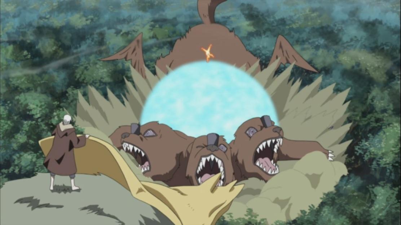 Naruto's Rasen Shuriken against Nagato's Summoning