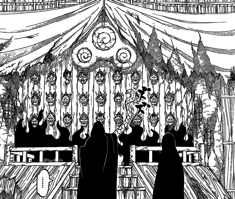 Sasuke and Orochimaru at Uzumaki's Shrine Mask