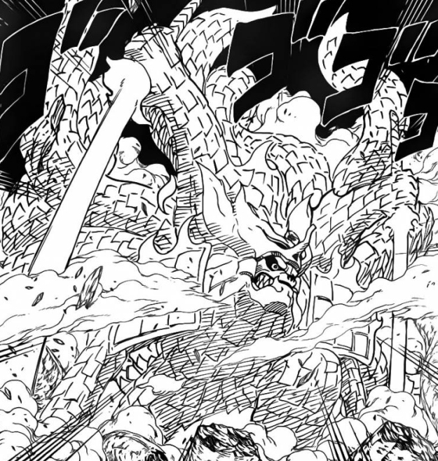 Kurama covered in Susanoo