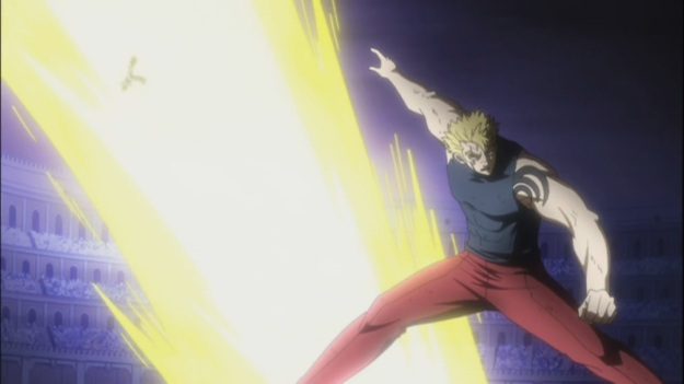 Laxus defeats Raven Tail easily
