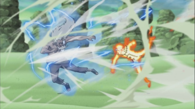 Naruto gets Rasen Shuriken Hit on Raikage