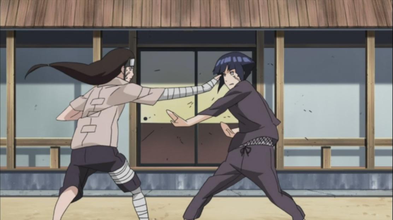 Hinata and Neji spar