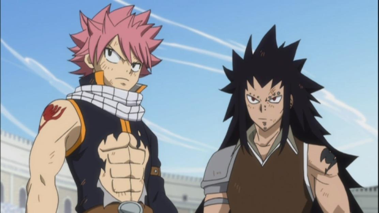 Natsu and Gajeel stand together