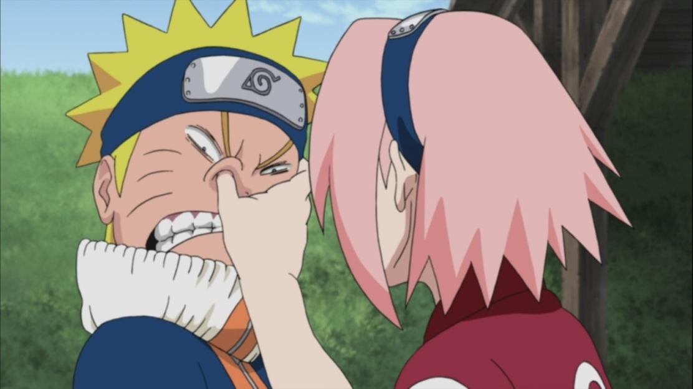 Sakura goes for Naruto's nose