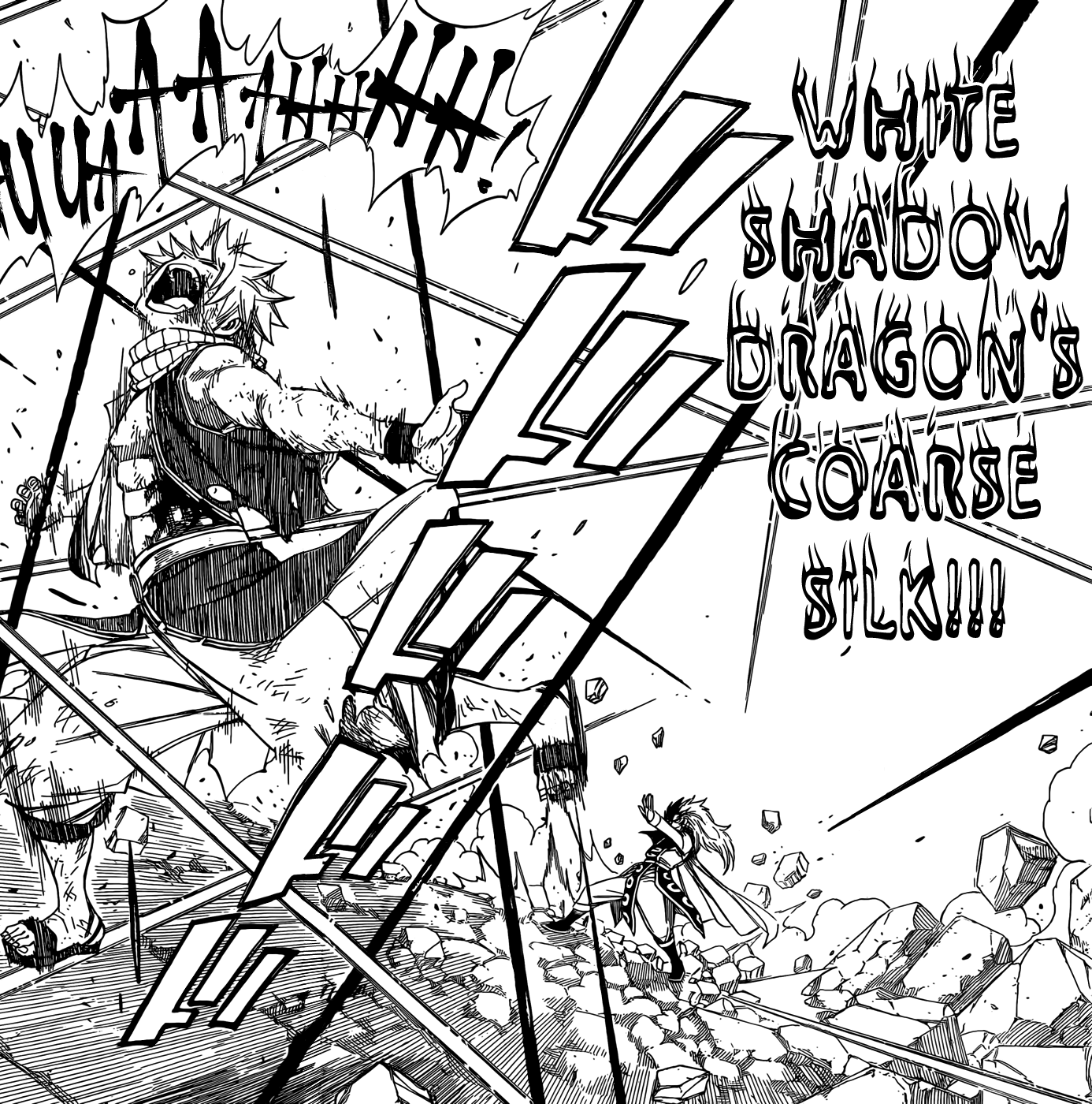 Natsu attacked by Rogue's Dragon Mode