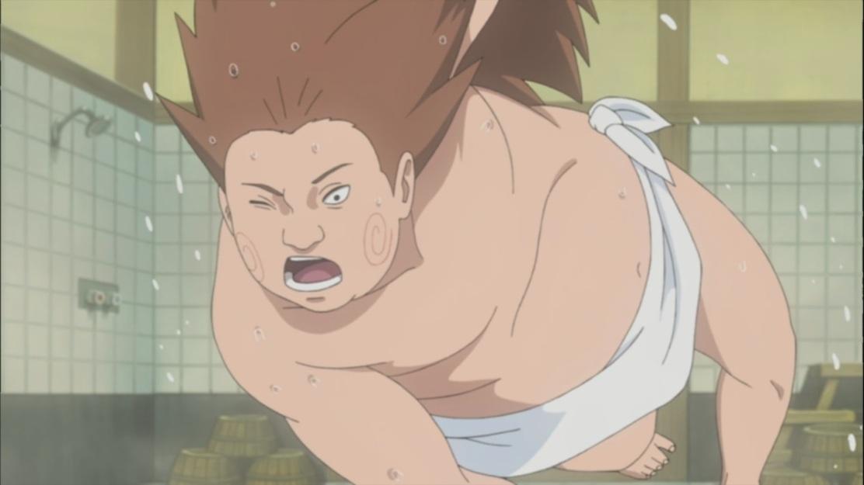 Choji falls over