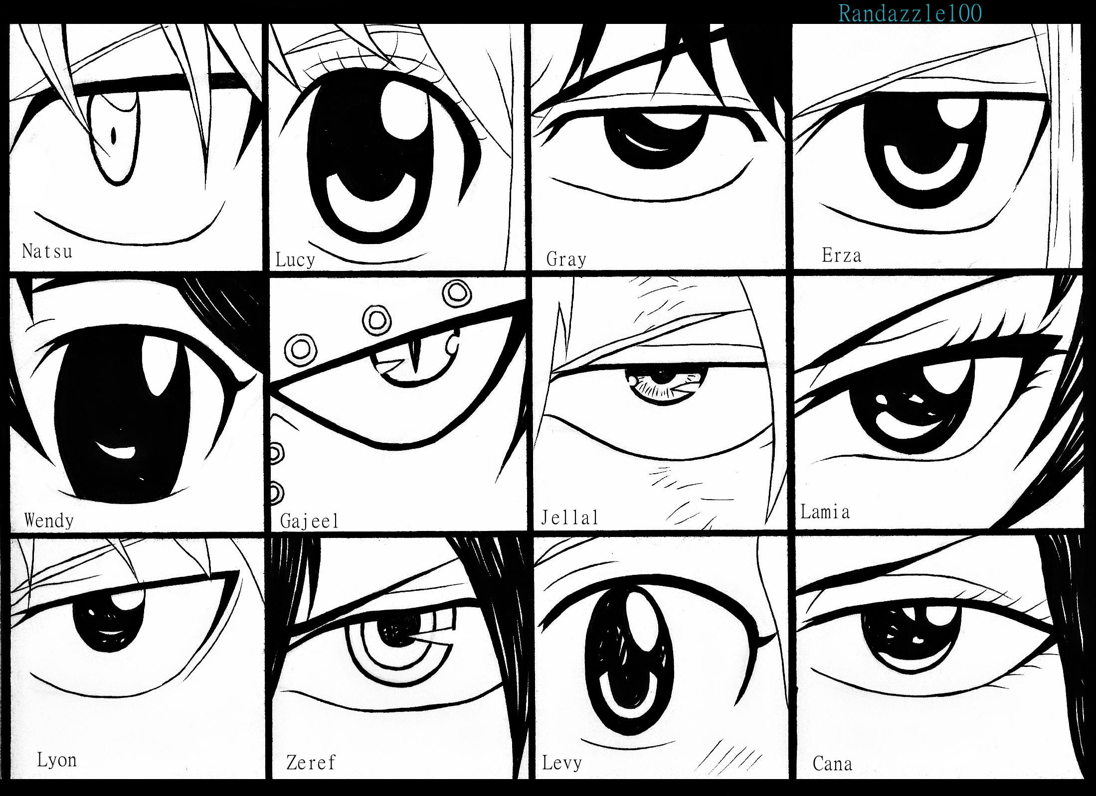 Anime Characters Eyes : Naruto bleach and fairy tail character eye references
