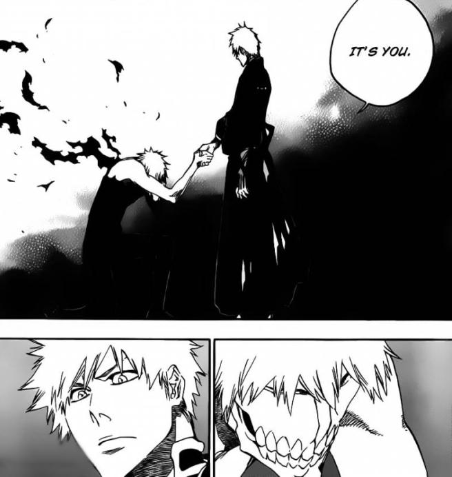 Ichigo finds Zangetsu with Mask