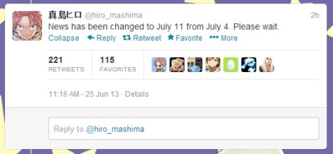 Hiro Mashima's Tweet about News 11 July