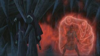 Itachi protects Sasuke whilest attacked