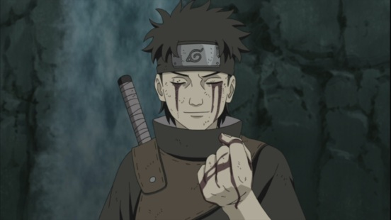 Shisui gives left eye to Itachi