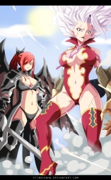 Fairy Tail 364 Mirajane and Erza Fighting by Stingcunha