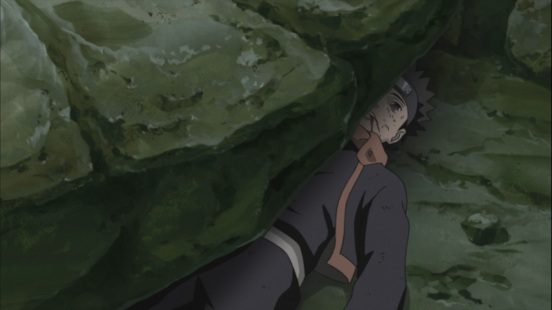 Obito crushed by large rocks