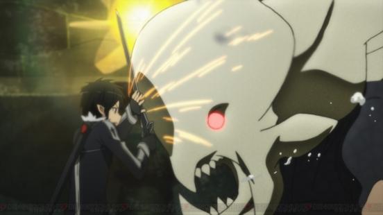 Sword Art Online Kirito against large monster