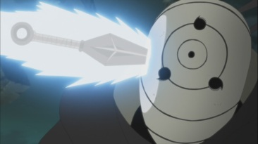 Tobi faces Kakashi's Kunai