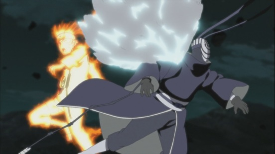 Tobi gets hurt from Naruto's Rasengan