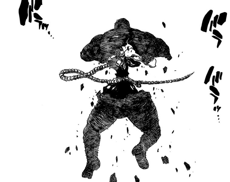 Mask De Masculine Incinerated by Renji's Bankai