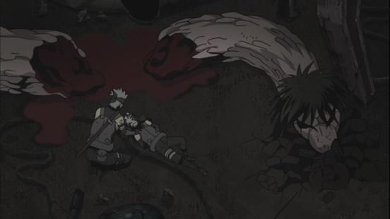 Kakashi saves Yamato from Orochimaru's snake