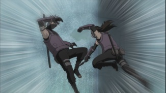 Yamato attacks Kakashi