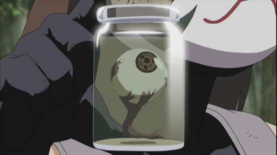 Yamato constructs fake Sharingan eye from wood