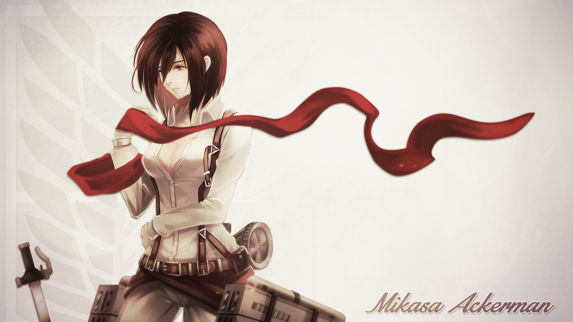 Attack on titan mikasa crying by welterz daily anime art titan wallpapersfull resolution 1920 1080 voltagebd Image collections