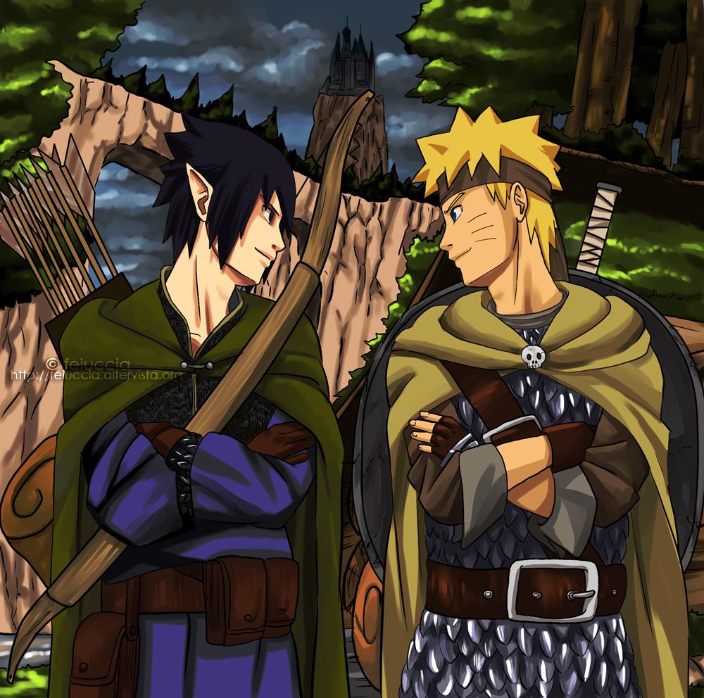 Elf and Warrior Naruto and Sasuke by feiuccia
