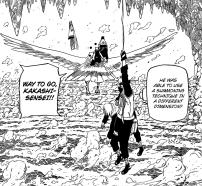 Kakashi saves Sakura using scroll strenght
