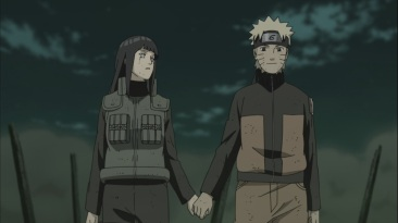 Naruto and Hinata hold hands