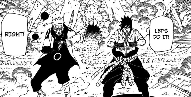 Sasuke and Naruto get ready to use jutsu
