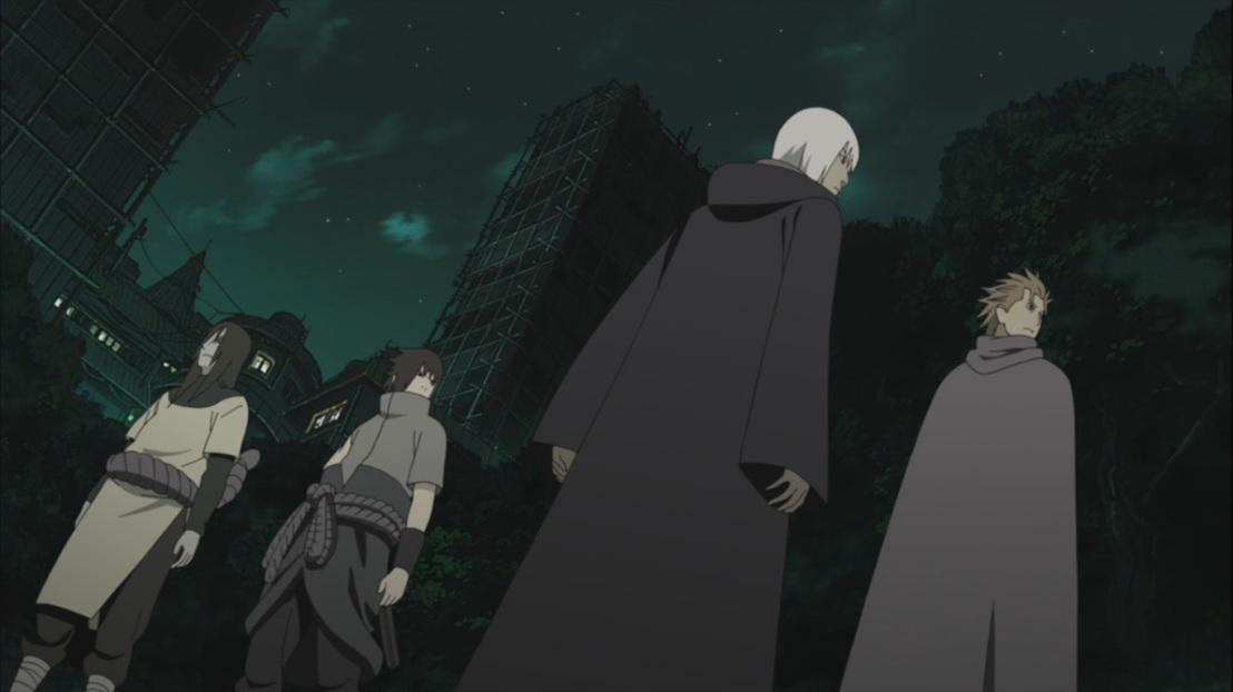 Sasuke Juugo Suigetsu and Orochimaru in Konoha