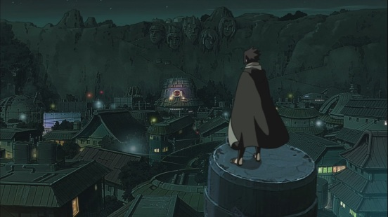 Sasuke stands above Konoha