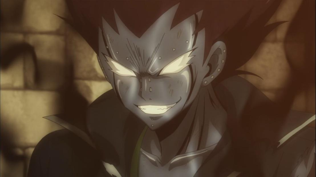 Gajeel's face Iron Shadow Mode