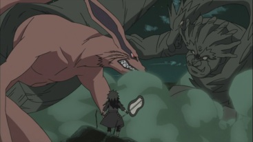 Hashirama puts Kurama to sleep