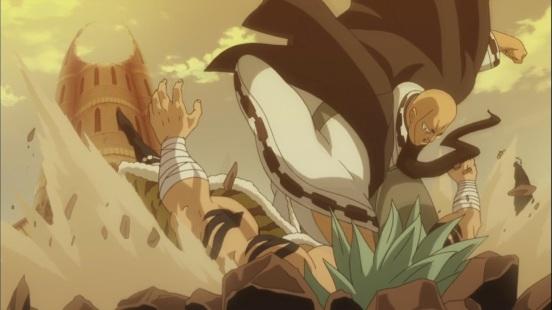 Jura smashes Orga to the ground