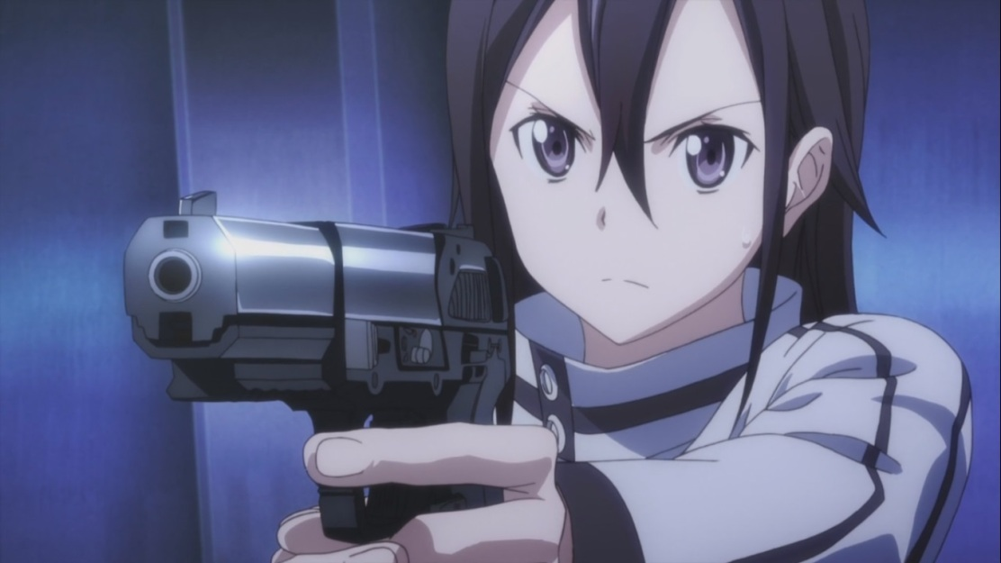 Kirito tries out a Pistol