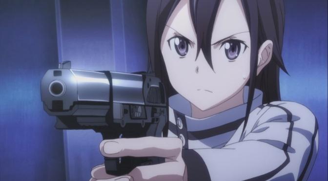 銃を試しで構えるキリト