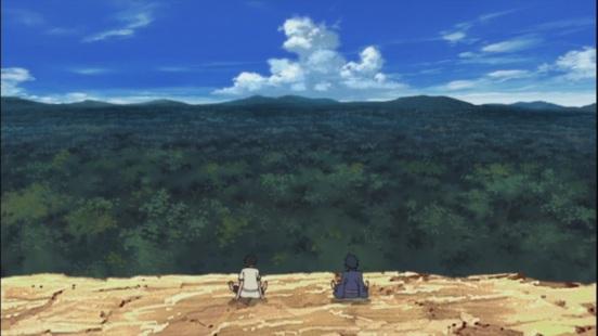 Madara and Hashirama look at Leaf Village location