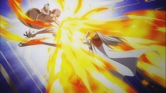Natsu attacks Future Rogue