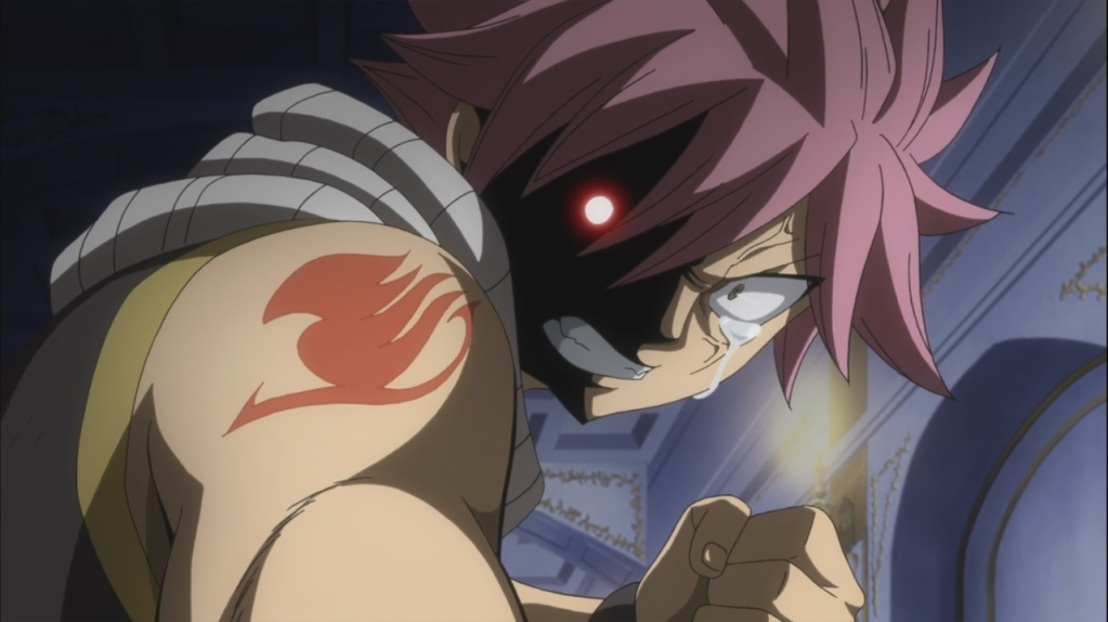 Natsu cries at Lucy's death