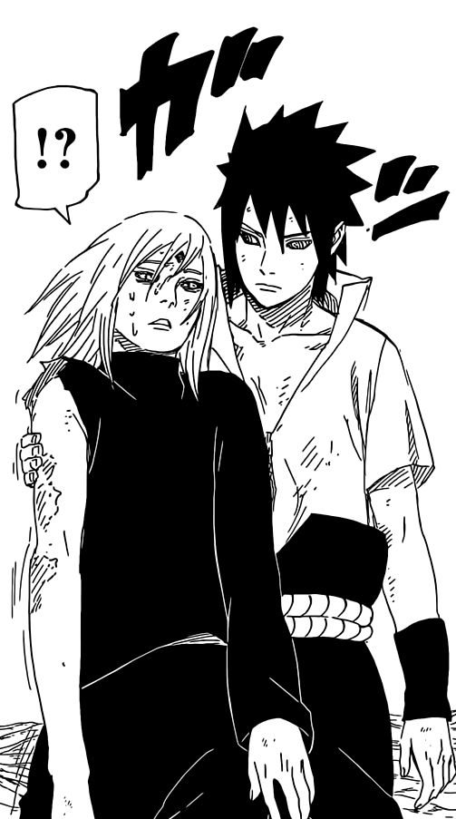 Sasuke appears behind Sakura