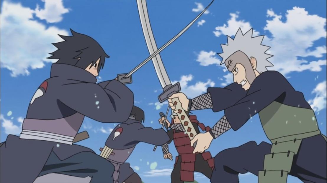 Tobirama and Izuna strike each other