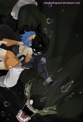 Fairy Tail 396 Gajeel protects Levy by claudiadragneel