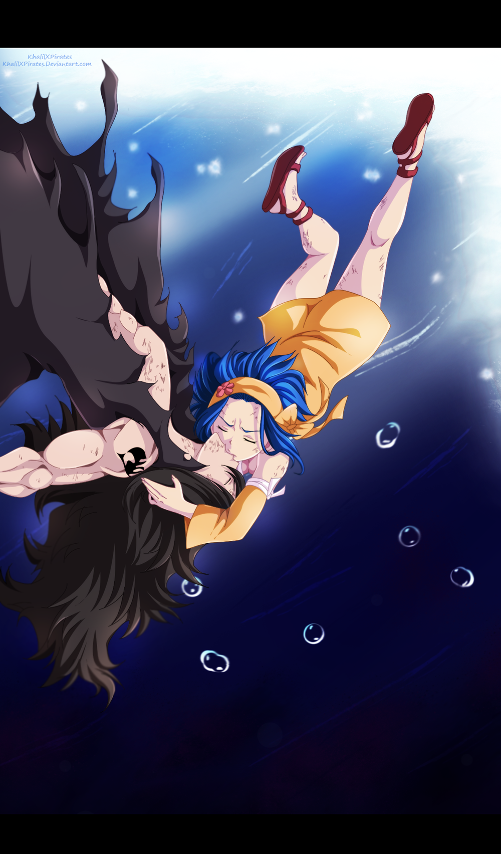 Fairy Tail 396 Underwater Gajeel and Levy by ...