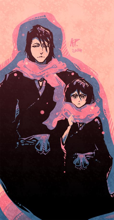 Flower and Ice Byakuya and Rukia by Drimr