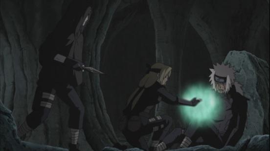 Jiraiya wounded and Orochimaru with Kunai