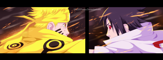 Naruto 690 Naruto and Sasuke by khalilxpirates